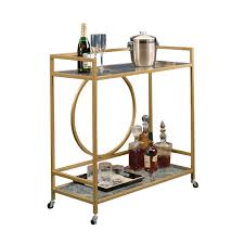 1470509 <b>2458</b> Sauder International Lux Bar <b>Cart</b> in Satin Gold ...