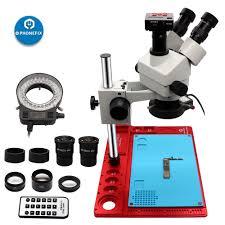 phone repair tools 16mp hdmi usb digital video microscope camera 7x 45x trinocular stereo 144 adjustable led lights