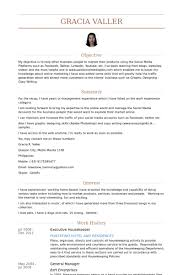 executive housekeeper resume samples housekeeper resumes