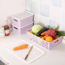 <b>Creative Plastic</b> Rattan <b>Desktop Storage</b> Basket with Handle ...