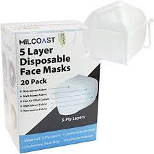 Milcoast <b>5</b>-<b>Ply</b> Layer <b>Disposable</b> Protective <b>Face Masks Respirator</b>