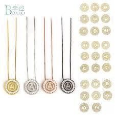 Wholesale <b>BOAKO</b> 26 Letter <b>Necklace Women</b> CZ <b>Crystal</b> Initial ...