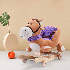 kids ride on rocking horse wooden baby animal rocker chair toys children sounds baby nursery cool bee animal rocking horse