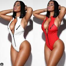 Womens <b>Red One</b>-Piece Swimsuit Beachwear Swimwear Zipper ...
