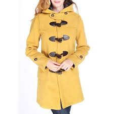 <b>Sweet Style Hooded Long</b> Sleeve Buttoned Pocket Design Women's ...