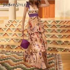 TWOTWINSTYLE Print <b>Strap Dresses</b> Women Sleeveless High ...