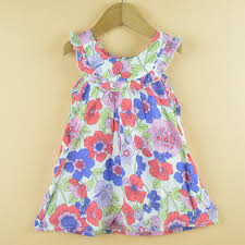 2016 new design fashion ruched sleeveless casual girls dress cotton summer flower child baby princess clothing baby girl dress designs