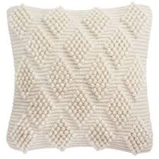 50.39 Spaced <b>Diamond</b> Loop <b>Square</b> Throw Pillow <b>Natural</b> - Safavieh