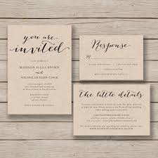 printable wedding invitation template rustic invitation suite printable wedding invitation template rustic invitation suite diy invite editable by you in word calligraphy style print on kraft