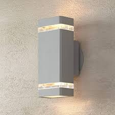"Modern <b>Outdoor</b> Wall Sconce Fixture Matte Silver <b>10 1</b>/2"" Clear ..."