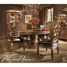 Formal Round Dining Room Sets Michael Amini Villa Valencia Round Oval Dining Room Table Set 5pc