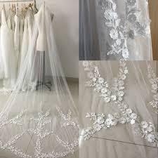 <b>Real Picture</b> 3 Meters One Layer Lace Long <b>Elegant</b> Wedding Bridal ...