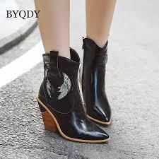 <b>BYQDY New 2020</b> Autumn Winter Casual Western Cowboy Ankle ...