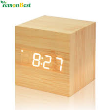 Digital Thermometer <b>Wooden LED Alarm</b> Clock Backlight Voice ...