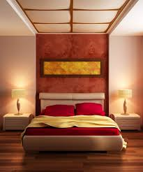 bedroom design red contemporary wood: white wall paint decoration in modern home bedroom color schemes has desk lamps on nightstands and