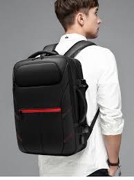 OZUKO Expandable <b>Men's</b> Backpack PVC Waterproof USB ...