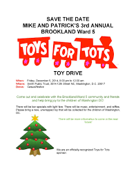 save the date rd annual brookland toys for tots event the toys for tots 2014
