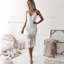 <b>Sheath Spaghetti Straps</b> Mid-Calf <b>White</b> Lace Prom Homecoming ...