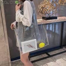 New <b>Clear Women Tote Bag</b> PVC <b>Transparent</b> Shopping <b>Bag</b> ...