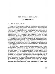 paper fred feldman the enigma of death pdf death concept