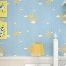 Modern <b>Cartoon Starry Night</b> Moon and Stars Children Wallpaper ...