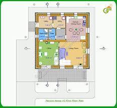 Green Passive Solar House Plans   Green Passive Solar House   First Floor Plan  Passive Solar Home Plans