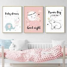Baby Girl Room <b>Cartoon</b> bunny ear Posters Wall Art Canvas ...