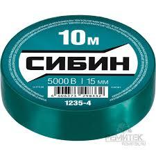 <b>СИБИН ПВХ изолента</b>, 10м х <b>15мм</b>, зеленая <b>СИБИН</b> арт. 1235-4 ...
