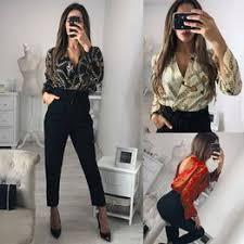 New women's sexy backless deep V-neck print jumpsuit - Vova