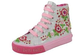 Lelli Kelly Silver Beaded Silver (Mid) High Top Sneakers - New in Box - lelli_kelly_silver_hi