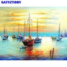 Frameless Sunset Boat <b>DIY</b> Painting By Numbers Seascape <b>Modern</b> ...