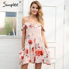 Best value <b>Women</b> Off Shoulder Floral Button <b>Mini Dress</b> – Great ...