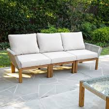 <b>3-Seater</b> Celadon Indoor/<b>Outdoor Sofa</b> - <b>Natural</b> And White - Aiden ...