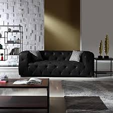 Large Tufted Real Leather Chesterfield Sofa, Classic ... - Amazon.com