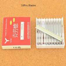 <b>10Pcs Stainless Steel Hair</b> Thinning Razors Blades Professional ...