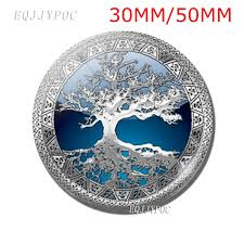 <b>Silver Tree</b> of Life Fridge <b>Magnet</b> Spring <b>30mm</b> / 50mm Glass ...