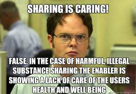 Sharing is caring! False. In the case of harmful, illegal ... via Relatably.com