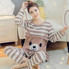 <b>Breastfeeding Pajamas Breast Feeding</b> Nightwear Maternity Nursing ...