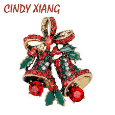 <b>CINDY XIANG</b> Lovely Two Bow Bells Brooches For Women ...