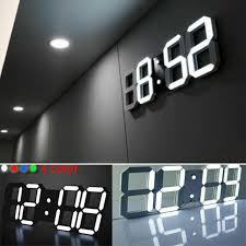Modern Digital <b>3D LED Wall Clock</b> Alarm Clock Snooze 12/24H ...