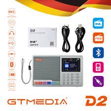 GTMEDIA D2 <b>2.4inch Bluetooth</b> Battery Powered FM DAB Portable ...