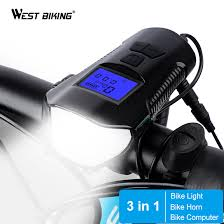 WEST BIKING 3 in 1 <b>Bike Light</b> 1500mAh Bike Horn <b>Bicycle Lamp</b> ...