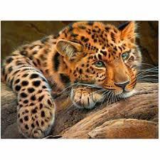 <b>Leopard</b> Diamond Embroidery Painting <b>Full</b> Drill Mosaic Cross Stitch ...