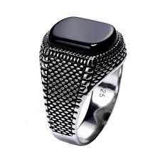 <b>Turkey Jewelry Black Ring</b> Men Light-weight Mens Rings Natural ...