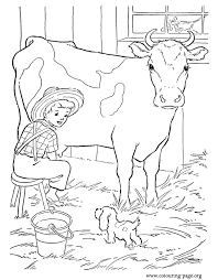 Small Picture Look The farm boy is milking a cow in the barn and his puppy is