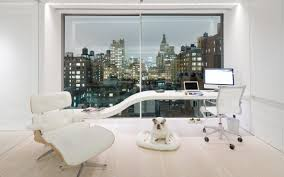 elegant white nuance of the modern and beautiful office that has cream modern floor and also amusing contemporary office decor design home