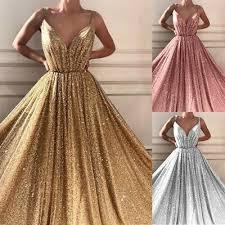 <b>Women Sexy V-neck Sequins</b> Glitter Dress Party Evening Dresses ...
