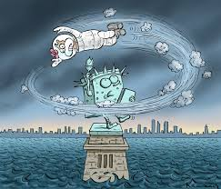 Hurricane Sandy by Political Cartoonist Marian Kamensky via Relatably.com