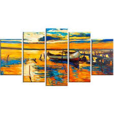 DesignArt Boat and Jetty at <b>Sunset Landscape 5 Piece</b> Painting ...