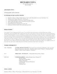 home choreographer resume richard costachoreo pdf